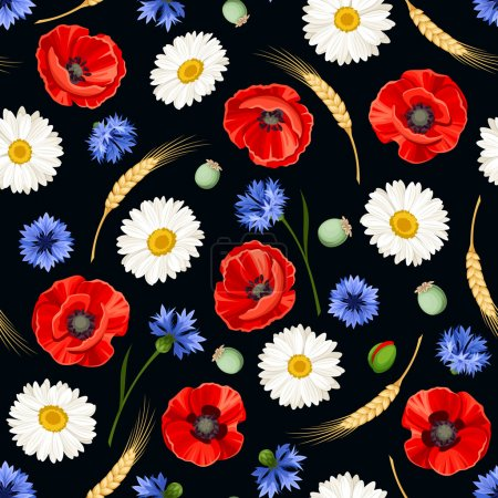 Illustration for Vector seamless pattern with red poppies, white daisies, blue cornflowers and ears of wheat on a black background. - Royalty Free Image