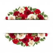 Vector horizontal background with red and white roses and green leaves