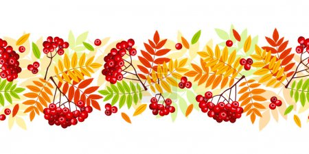 Horizontal seamless background with autumn rowan branches, leaves and berries. Vector illustration.