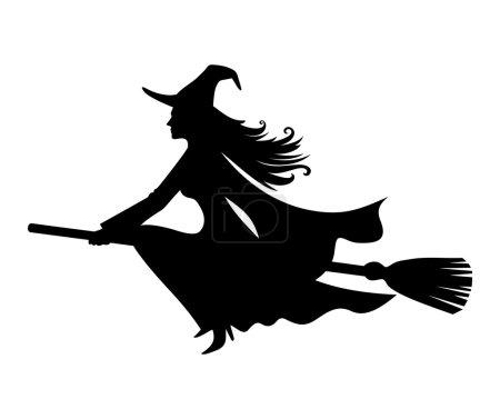 Illustration pour Silhouette vectorielle noire d'une belle sorcière sur un manche à balai isolé sur fond blanc . - image libre de droit