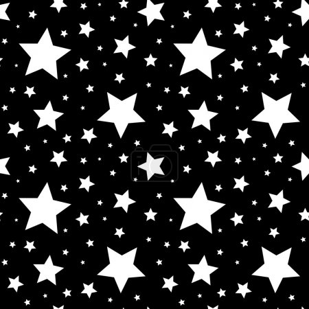 Illustration for Vector seamless pattern with white stars on a black background. - Royalty Free Image