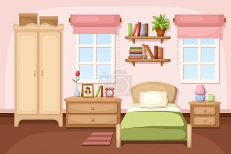 Illustration for Vector illustration of a bedroom interior with a bed, nightstands, a wardrobe, shelves and windows. - Royalty Free Image