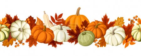 Illustration for Vector horizontal seamless background with pumpkins and autumn leaves of various colors on a white background. - Royalty Free Image