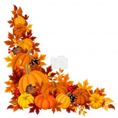 Illustration for Vector corner background with orange pumpkins and autumn leaves of various colors on a white background. - Royalty Free Image