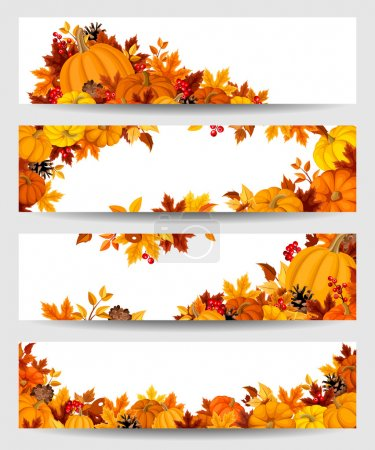 Illustration for Set of four vector banners with orange pumpkins and colorful autumn leaves. - Royalty Free Image