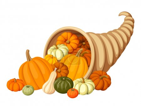 Illustration for Vector autumn cornucopia with various pumpkins isolated on white. - Royalty Free Image