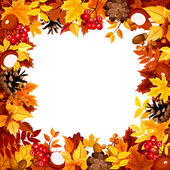 Frame with autumn colorful leaves Vector illustration