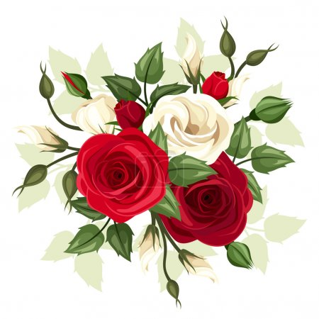 Illustration for Vector illustration of red and white roses and lisianthus flowers with leaves on a white background. - Royalty Free Image