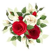 Vector illustration of red and white roses and lisianthus flowers with leaves on a white background