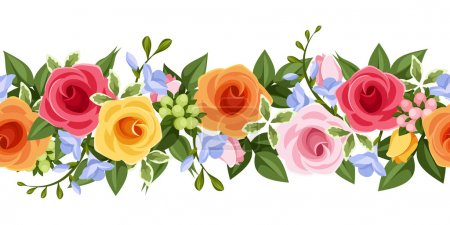 Illustration for Vector horizontal seamless background with pink, orange and yellow roses, blue freesia flowers and green leaves on a white background. - Royalty Free Image