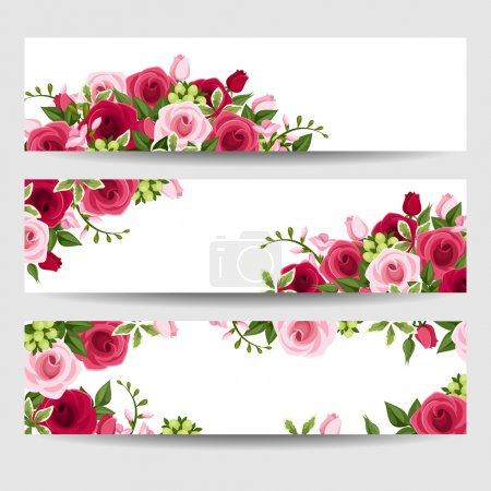 Illustration for Vector web banners with red and pink roses and freesia flowers and green leaves. - Royalty Free Image