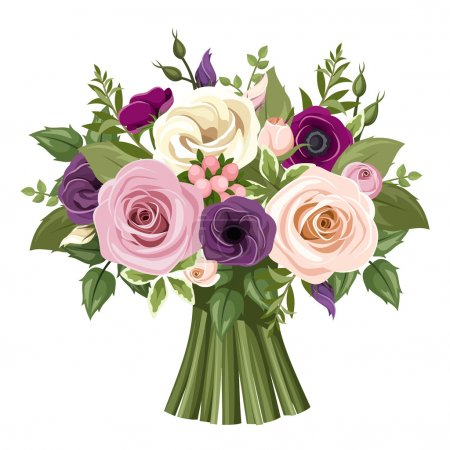 Illustration for Vector bouquet of pink, purple, white and orange roses, lisianthus and anemone flowers and green leaves. - Royalty Free Image