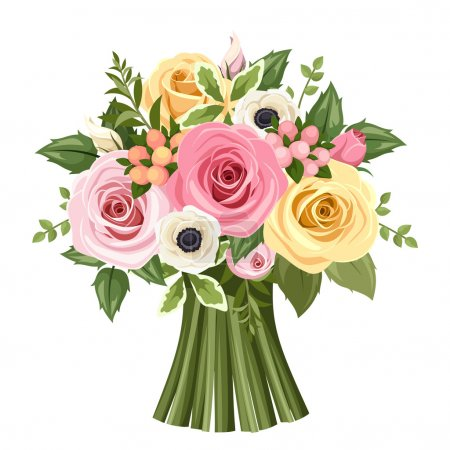 Illustration for Vector bouquet of pink, yellow and white roses and anemone flowers and green leaves. - Royalty Free Image