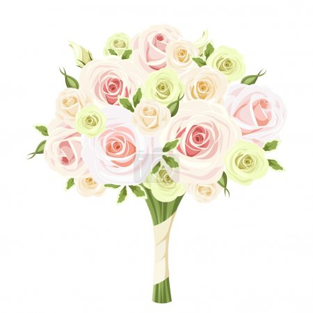 Wedding bouquet of pink, white and green roses. Vector illustration.