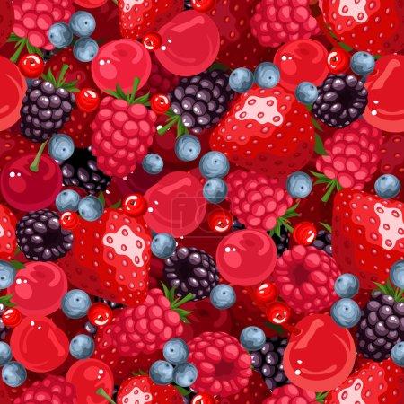 Illustration pour Fond sans couture vectoriel avec fraises, framboises, mûres, cerises, bleuets et actuel . - image libre de droit