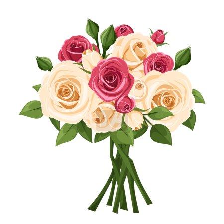 Illustration pour Bouquet vectoriel de roses rouges et blanches et de feuilles vertes isolées sur fond blanc . - image libre de droit
