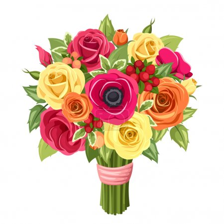 Illustration for Vector bouquet of red, pink, orange and yellow roses, lisianthus and anemone flowers and green leaves isolated on a white background. - Royalty Free Image