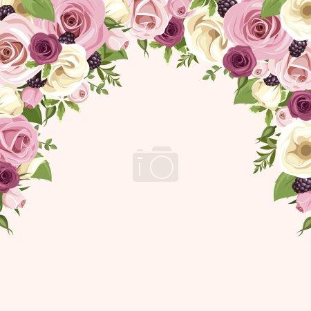 Illustration pour Fond vectoriel avec roses roses et blanches et fleurs de lisianthus, mûres et feuilles vertes isolées sur fond blanc . - image libre de droit