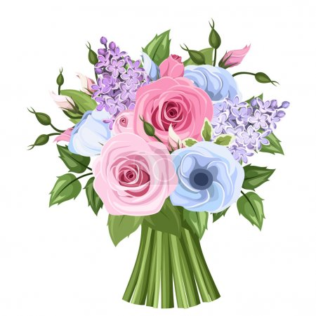 Illustration for Vector bouquet of pink, blue and purple roses, lisianthus and lilac flowers and green leaves. - Royalty Free Image
