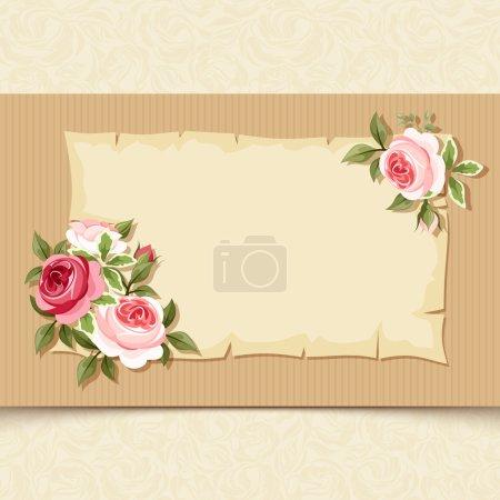 Illustration pour Carte vintage vectorielle avec roses rouges et roses sur fond de carton . - image libre de droit