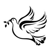 Dove Symbol of peace Vector black silhouette