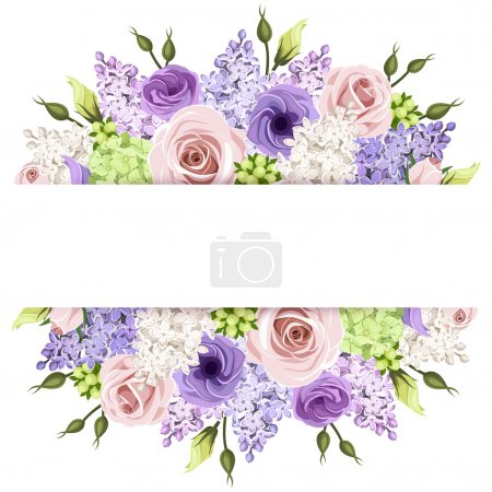 Illustration for Vector horizontal background with pink, purple, white and green roses, lisianthuses, hydrangea and lilac flowers. - Royalty Free Image