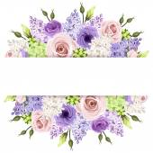 Vector horizontal background with pink purple white and green roses lisianthuses hydrangea and lilac flowers