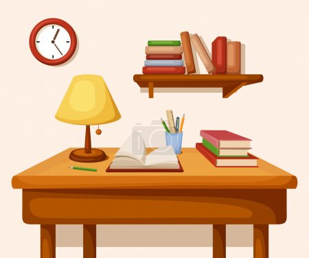 Vector room interior with table with books and lam...
