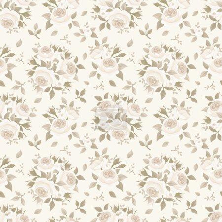 Illustration pour Vecteur vintage motif beige sans couture avec des roses anglaises . - image libre de droit