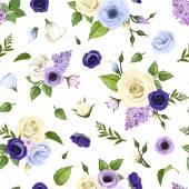 """Постер, картина, фотообои """"Бесшовный фон с голубой, пурпурный и белые розы, Лизиантусы, анемоны и сиреневые цветы. Векторные иллюстрации."""""""