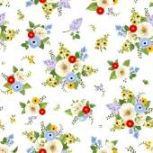 Seamless pattern with colorful flowers Vector illustration