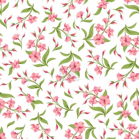 Seamless pattern with pink flowers. Vector illustration.