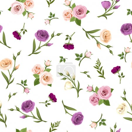 Illustration for Vector seamless pattern with pink, purple, orange and white roses and lisianthus flowers on a white background. - Royalty Free Image