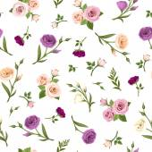 Vector seamless pattern with pink purple orange and white roses and lisianthus flowers on a white background