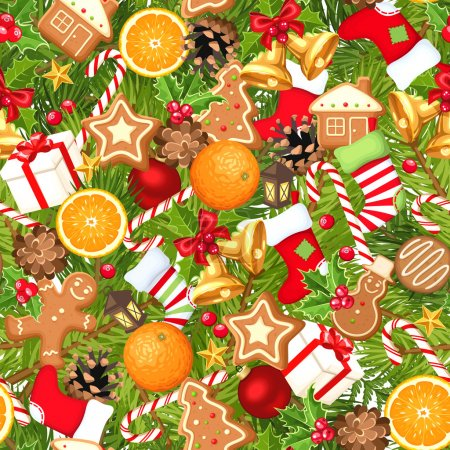 Illustration for Vector seamless background with fir branches, balls, bells, gingerbread cookies, candy canes, cones, socks and boxes. - Royalty Free Image
