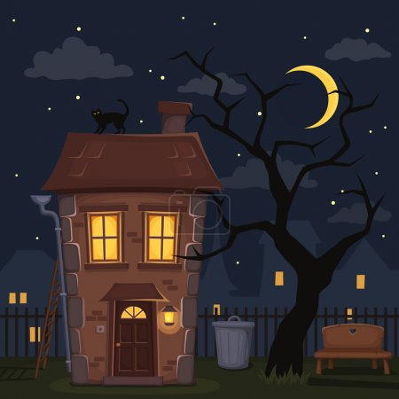 Illustration for Night city landscape with house with lighted windows, tree and sky with moon and stars. Vector illustration. - Royalty Free Image
