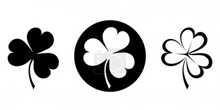 Illustration pour Ensemble vectoriel de trois silhouettes noires de trèfles (trèfle ). - image libre de droit