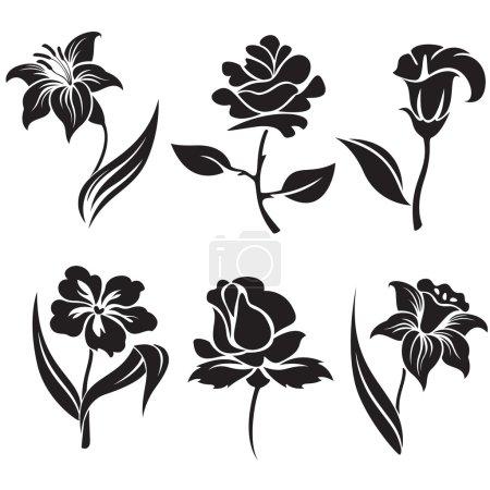 Illustration pour Ensemble vectoriel de fleurs noires et blanches. - image libre de droit