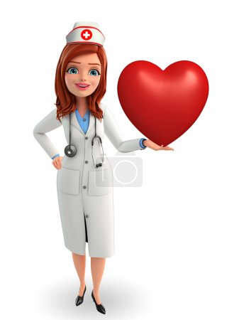 Cartoon Character of Nurse with heart pose...