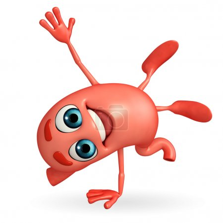 Cartoon Character of stomach with hand standing pose