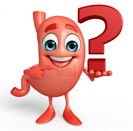 Cartoon Character of stomach with question mark