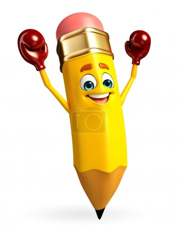Photo for Cartoon Character of pencil with Boxing Gloves - Royalty Free Image