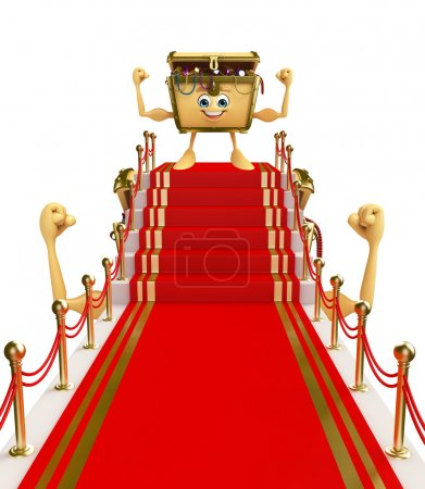 Treasure box character with red carpet