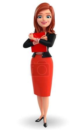 Photo for Illustration of corporate lady with book - Royalty Free Image