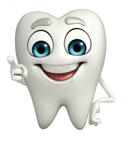 Photo pour Cartoon caractère des dents est pointant - image libre de droit