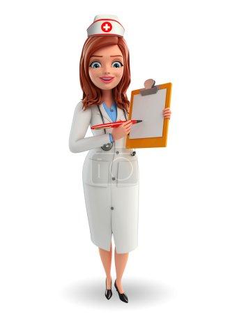 Photo pour Caractère de bande dessinée de l'infirmière avec bloc-notes - image libre de droit