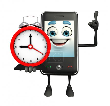 Mobile character with table clock