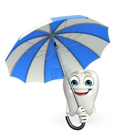 Teeth character with umbrella