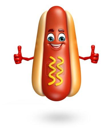 Photo pour 3d rendu illustration de personnage de dessin animé hot dog - image libre de droit