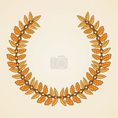 Illustration for Golden coat of arms.  Wreath with yellow leaves. Vector illustration. - Royalty Free Image